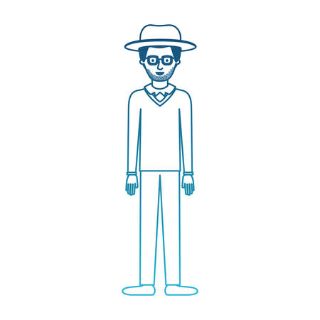 man with hat and glasses and sweater and pants and shoes with stubble beard in degraded blue silhouette vector illustration