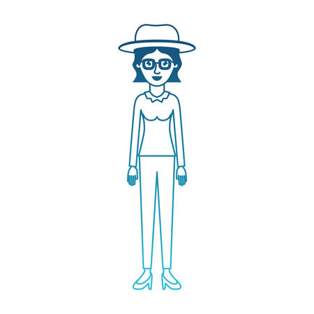 woman with hat and glasses and blouse long sleeve and pants and heel shoes with short wavy hair in degraded blue silhouette vector illustration