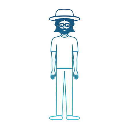 man with hat and glasses and t-shirt and pants and shoes with mid length hair and beard in degraded blue silhouette vector illustration