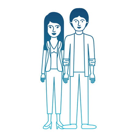 couple in degraded blue silhouette and her with blouse and jacket and pants and heel shoes with layered hair and him with shirt and jacket and pants and shoes with middle part hairstyle vector illustration