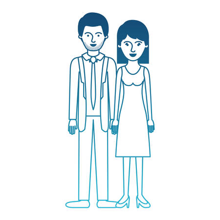 couple in degraded blue silhouette and him with suit and tie and pants and shoes with short hair and stubble beard and her with dress and heel shoes with mid length hair vector illustration Illustration
