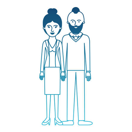 couple in degraded blue silhouette and her with blouse and jacket and skirt and heel shoes with collected hair and him with beard and sweater and pants and shoes with taper fade haircut vector illustration