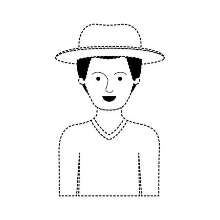 man half body with hat and sweater with short hair in black dotted silhouette vector illustration Vettoriali