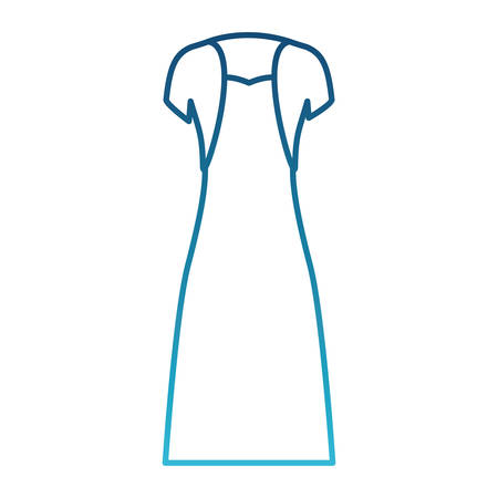 female clothes with strapless dress and vest in degraded blue silhouette vector illustration