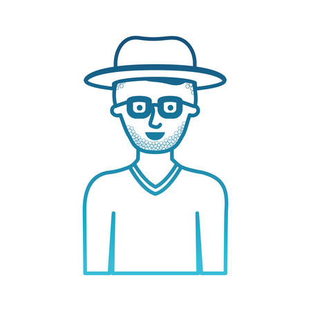 man half body with hat and glasses and sweater with short hair and stubble beard in degraded blue silhouette vector illustration