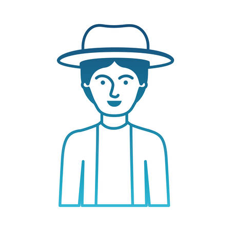 man half body with hat and jacket with short hair in degraded blue silhouette vector illustration