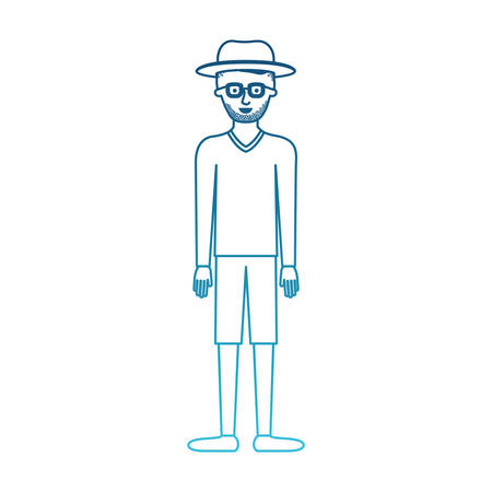 man with hat and glasses and sweater and short pants and shoes with short hair and stubble beard in degraded blue silhouette vector illustration Illustration