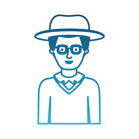 man half body with hat and glasses and sweater with stubble beard in degraded blue silhouette vector illustration