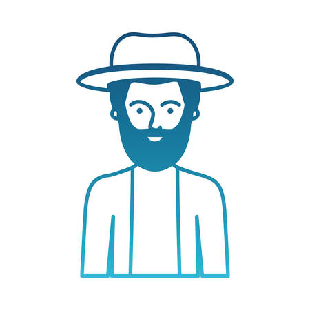 man half body with hat and jacket with short hair and beard in degraded blue silhouette vector illustration
