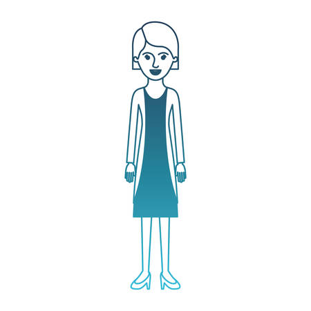 woman full body with blouse and jacket and skirt and heel shoes with short hair in degraded blue silhouette vector illustration Illustration