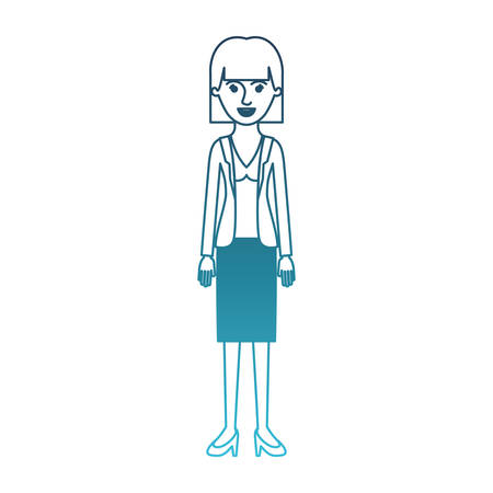 woman full body with blouse and jacket and skirt and heel shoes with mushroom hairstyle in degraded blue silhouette vector illustration