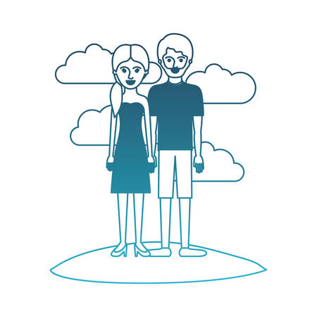couple in degraded blue silhouette scene outdoor and her with strapless dress and heel shoes with pigtail hairstyle and him with t-shirt and short pants and shoes with short hair and beard vector illustration Illustration