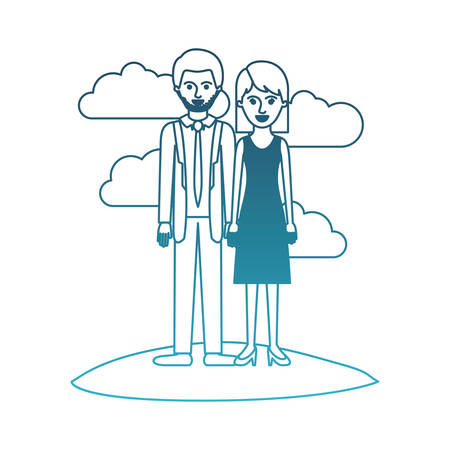 couple in degraded blue silhouette scene outdoor and him with suit and tie and pants and shoes with short hair and stubble beard and her with dress and heel shoes with mid length hair vector illustration Illustration