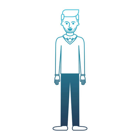 man full body with stubble beard and sweater and pants and shoes with side parted hairstyle in degraded blue silhouette vector illustration
