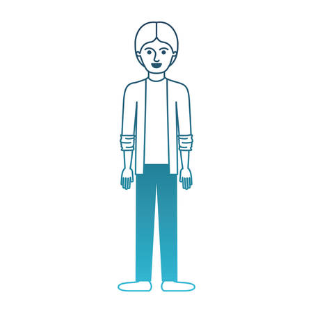 man full body with shirt and jacket and pants and shoes with middle part hairstyle in degraded blue silhouette vector illustration