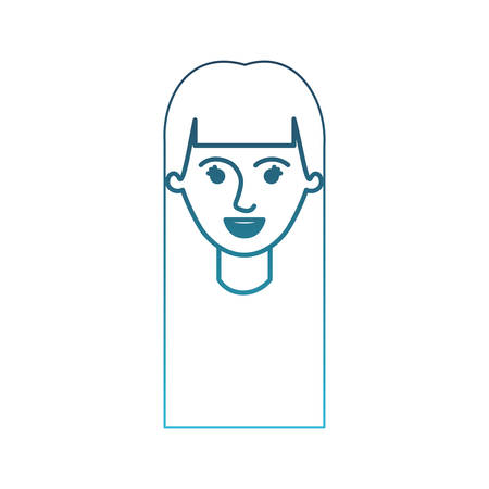 female face with long straight hair in degraded blue silhouette vector illustration