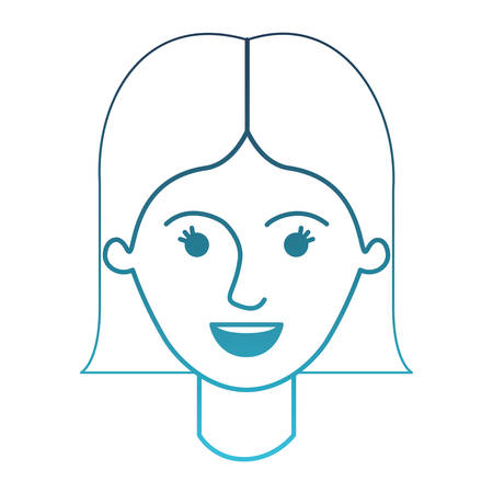 female face with short straight hairstyle in degraded blue silhouette vector illustration Illustration