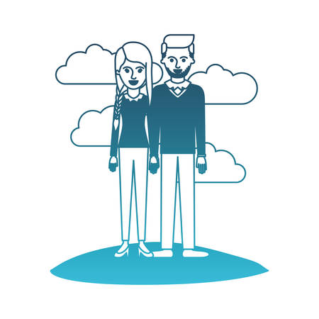 couple in degraded blue silhouette scene outdoor and her with blouse long sleeve and pants and heel shoes with braid and fringe hairstyle and him stubble beard and sweater and pants and shoes with side parted hairstyle vector illustration Illustration