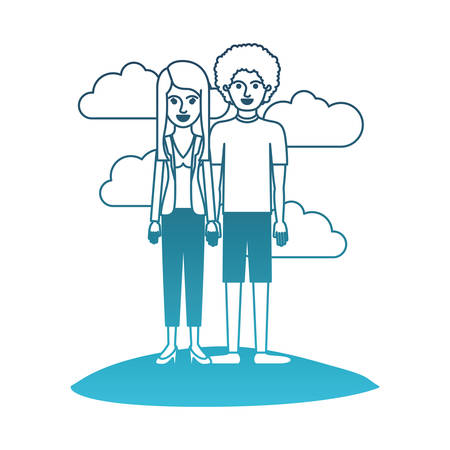 couple in degraded blue silhouette scene outdoor and her with blouse and jacket and pants and heel shoes with layered hair and him with t-shirt and short pants and shoes with curly hair vector illustration