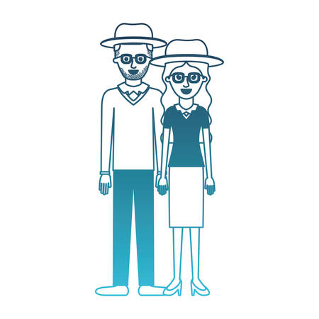 couple in degraded blue silhouette and both with hat and glasses and him with stubble beard and sweater and pants and shoes and her with blouse and skirt and heel shoes with long wavy hair vector illustration