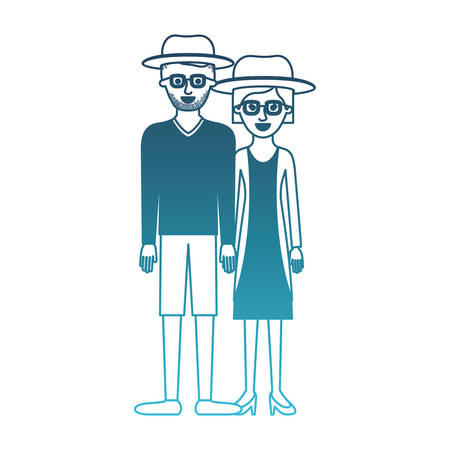 couple in degraded blue silhouette and both with hat and glasses and him with stubble beard and sweater and short pants and shoes and her with jacket and dress and heel shoes with short hair vector illustration