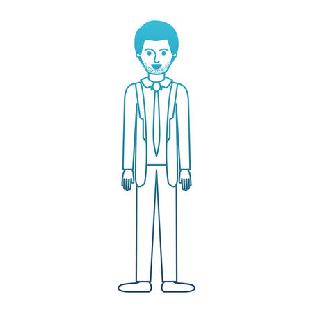 man full body with suit and tie and pants and shoes with short hair and stubble beard in degraded blue silhouette vector illustration Illustration