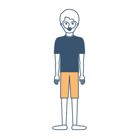man full body with t-shirt and short pants and shoes with short hair and beard in color sections silhouette vector illustration