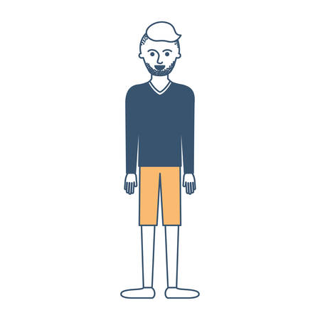 man full body with t-shirt long sleeve and short pants and shoes with high fade haircut and stubble beard in color sections silhouette vector illustration