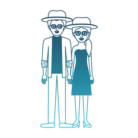 couple in degraded blue silhouette and both with hat and glasses and him with shirt and jacket and pants and shoes and her with strapless dress and heel shoes with pigtail hairstyle vector illustration