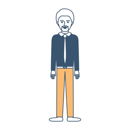 man full body with shirt and tie and pants and shoes with short hair and goatee beard in color sections silhouette vector illustration Illustration