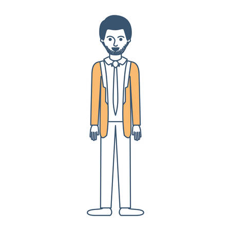 man full body with suit and tie and pants and shoes with short hair and stubble beard in color sections silhouette vector illustration