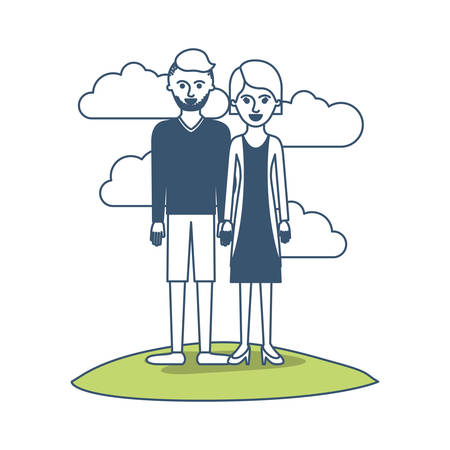 couple in color sections silhouette scene outdoor and him with t-shirt long sleeve and short pants and shoes with high fade haircut and stubble beard and her with blouse and jacket and skirt and heel shoes with short hair Illustration
