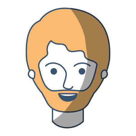 male face with short hair and beard in color sections silhouette vector illustration