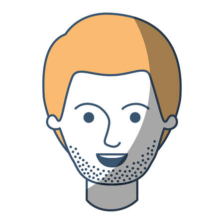 male face with short hair and stubble beard in color sections silhouette vector illustration Illustration