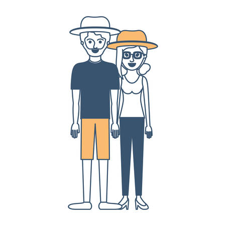 couple in color sections silhouette and both with hat and him with beard with t-shirt and short pants and shoes and her with glasses t-shirt sleeveless and pants and heel shoes with collected hair and fringe vector illustration Vectores