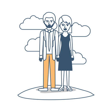 couple in color sections silhouette scene outdoor and him with suit and tie and pants and shoes with short hair and stubble beard and her with dress and heel shoes with mid length hair vector illustration Illustration