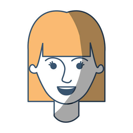 female face with mushroom hairstyle in color sections silhouette vector illustration