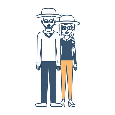 couple in color sections silhouette and both with hat and glasses and pants and him with stubble beard and sweater and shoes and her with blouse long sleeve and heel shoes and braid and fringe hair vector illustration Illustration