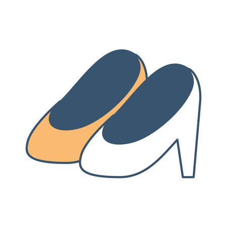 heel shoes in color sections silhouette on white background vector illustration Ilustração