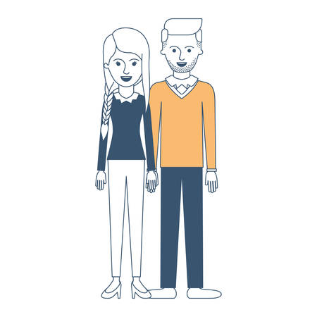 couple in color sections silhouette and her with blouse long sleeve and pants and heel shoes with braid and fringe hairstyle and him stubble beard and sweater and pants and shoes with side parted hairstyle vector illustration Illustration