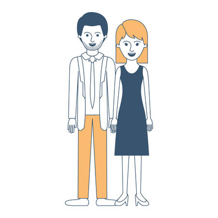 couple in color sections silhouette and him with suit and tie and pants and shoes with short hair and stubble beard and her with dress and heel shoes with mid length hair vector illustration
