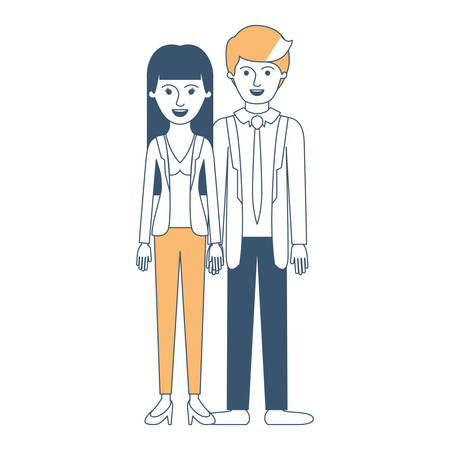 couple in color sections silhouette and her with blouse and jacket and pants and heel shoes with straight long hair and him with suit and tie and pants and shoes with short hair vector illustration Illustration