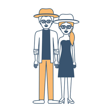couple in color sections silhouette and both with hat and glasses and him with shirt and jacket and pants and shoes and her with strapless dress and heel shoes with pigtail hairstyle vector illustration Illustration