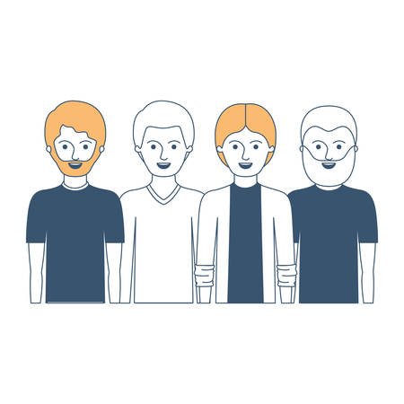 men in half body with casual clothes with short hair and some with beard in color sections silhouette vector illustration Illustration