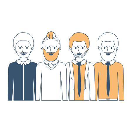 men in half body with casual clothes with short hair and some with beard and moustache in color sections silhouette vector illustration