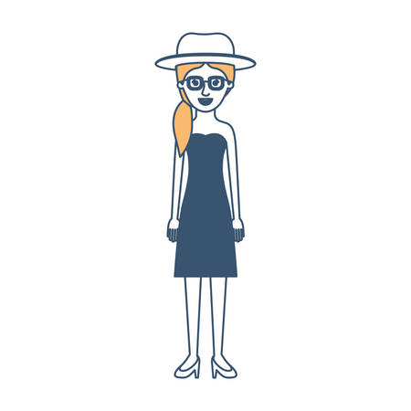 woman with hat and glasses and strapless dress and heel shoes with pigtail hairstyle in color sections silhouette vector illustration