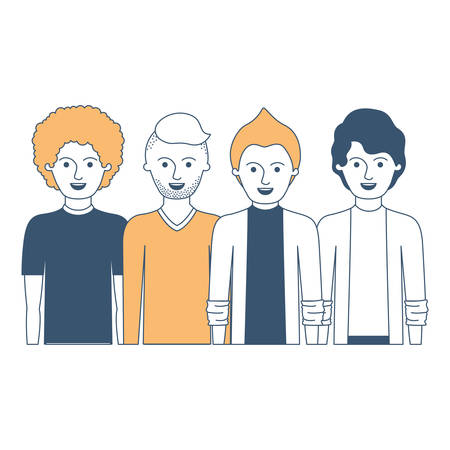 men in half body with casual clothes with short hair and hairstyles different in color sections silhouette vector illustration