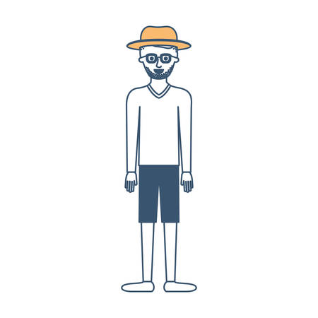 man with hat and glasses and sweater and short pants and shoes with short hair and stubble beard in color sections silhouette vector illustration Illustration