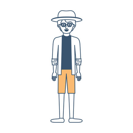 man with hat and glasses and shirt with jacket and short pants and shoes with short wavy hair in color sections silhouette vector illustration
