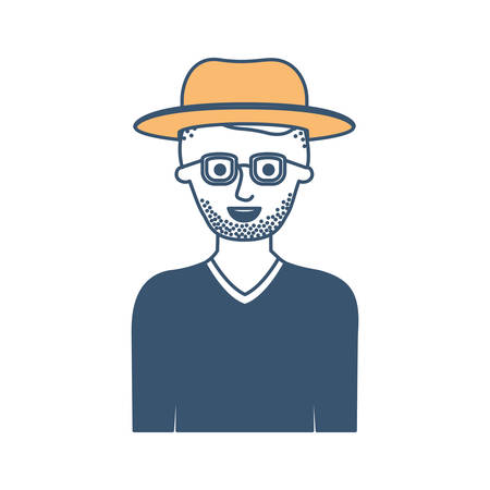 man half body with hat and glasses and sweater with short hair and stubble beard in color sections silhouette vector illustration